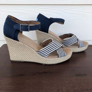 Tom's Sienna wedge stripe espadrilles 8.5